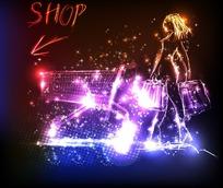 创意动感荧光购物美女矢量素材