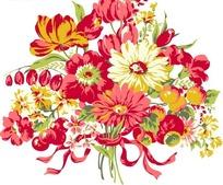 鲜艳的矢量花束