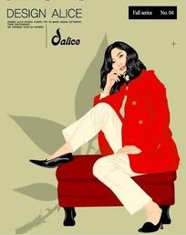 脚踩在沙发上的卡通美女