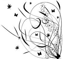 白色背景上的黑色卷草花纹与蝴蝶树叶图案
