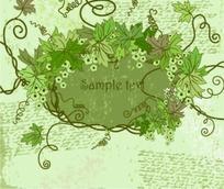 葡萄藤蔓花纹浅绿色背景