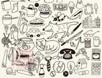 白描生活用品图案