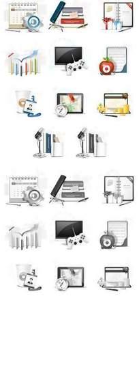 彩色黑白对比网页图标素材图片