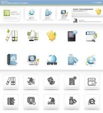 黑白 蓝色网页图标素材图片下载