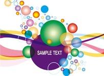 动感曲线上的彩色圆点图案与英文字