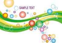 动感曲线上的彩色圆点圆圈图案与英文字