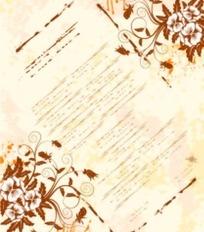 浅色背景上的卷草图案花与涂鸦文字