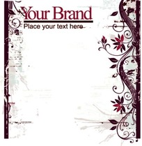 浅色涂鸦背景上的卷草图案花与英文字边框