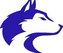 蓝色狼头图案标志设计
