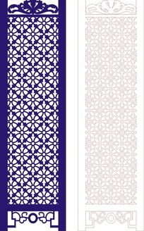 宝蓝色中式四方连续图案屏风镂空花纹