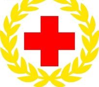 红十字与黄色麦穗图形标志设计