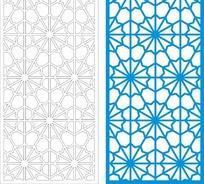 蓝色中式四方连续图案窗格镂空花纹