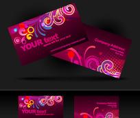 紫红色调时尚图案横版名片设计