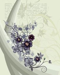 动感曲线与手绘花朵图案