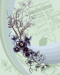 灰色调涂鸦字体背景上的动感曲线与卷草图案花