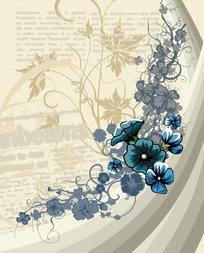 涂鸦背景上的蓝色手绘花朵