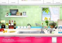 干净厨房一角psd素材