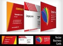 红色调创意图案横版名片设计