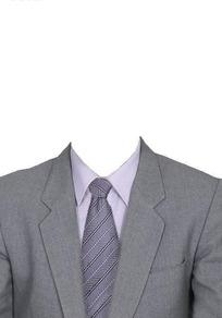 灰色西服浅灰条纹领带换脸模板