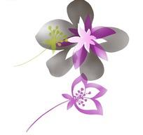 手绘水墨花朵素材
