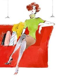 鼠绘坐在红色沙发上的时尚女性