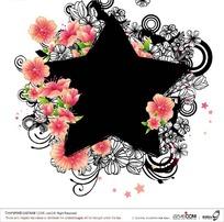 黑色星形周围桃红色花边与装饰图样