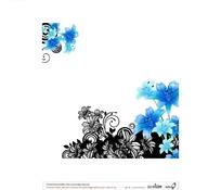 蓝色对角花与黑色装饰图样