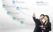 商务男女和数据分析图