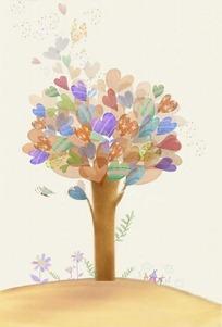 手绘爱心大树
