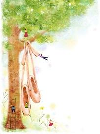 在树上玩耍的小矮人手绘卡通