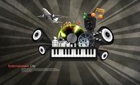 ktv音乐器材和发射状背景