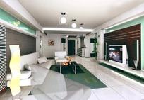 时尚客厅装饰效果图3D素材下载