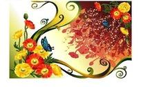 涂鸦卷草花纹背景上的虞美人与蝴蝶