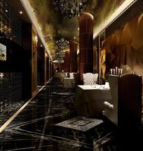豪华酒店餐区走廊3ds模型
