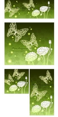绿色调蝴蝶与虞美人图案花