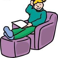 手绘坐在沙发上的小女孩
