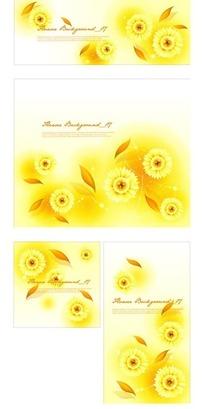 温馨黄色调的图案花与叶子