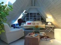 白色尖屋顶小客厅3ds模型
