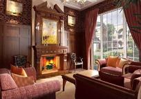 古典美式有壁炉客厅3ds模型