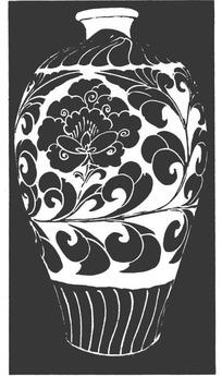 手绘牡丹青花瓷图案