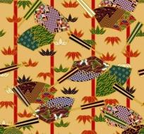 土黄色背景上的竹子与扇形花纹图案