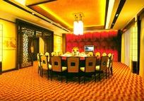 中式风格饭店包间3ds模型