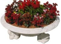 白色景观花坛和鲜花抠图素材
