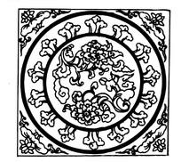 古代庭院装饰圆形花纹矢量素材