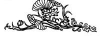 简单的黑白花藤矢量图案