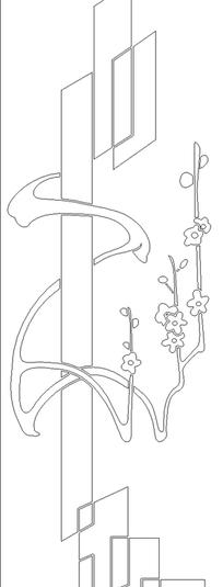单色线条画几何图形与梅花图案hpgl格式