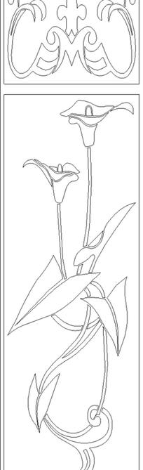 单色线条画马蹄莲图案hpgl格式