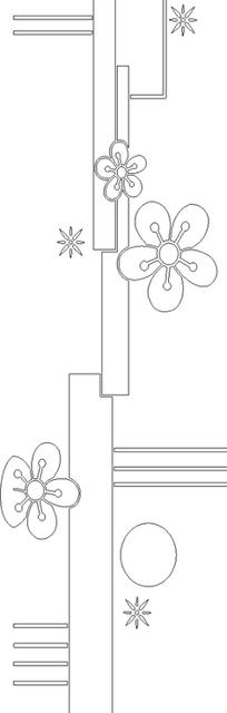 单色线条画梅花与几何图案hpgl格式