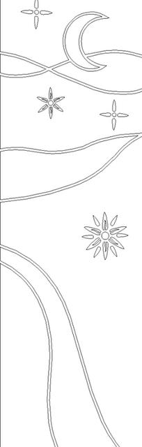 单色线条画月亮星星与银河图案hpgl格式