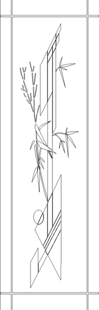 单色线条画竹子与三角形图案hpgl格式